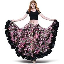 ROYAL SMEELA Women's Belly Dance Skirt ATS Voile Maxi Full Flamenco Skirts Tribal Bellydance Chiffon Bohemian Dress
