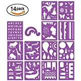 #3: SOTOGO 14 Pcs Plastic Stencils Set Craft Educational Toys for Kids - Over 150 Patterns Painting Stencils For Children with 1 Zipper Case