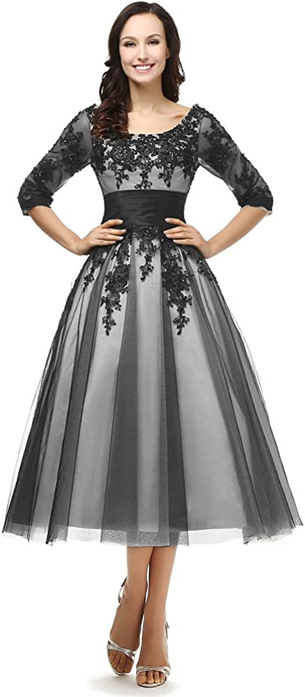 Kivary Sheer 1//2 Sleeves Lace White and Black Short Mother of The Bride Dresses