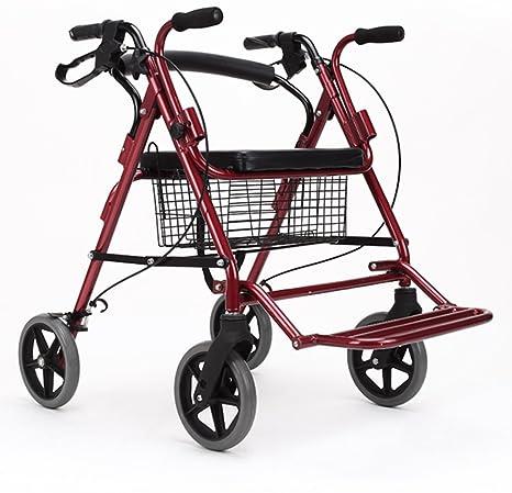 Andador de acero inoxidable rojo Colores Walker plegable con ...