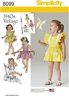 product image for Simplicity 8099 Vintage Toddler Romper and Skirt Sewing Pattern, Sizes 1/2-4