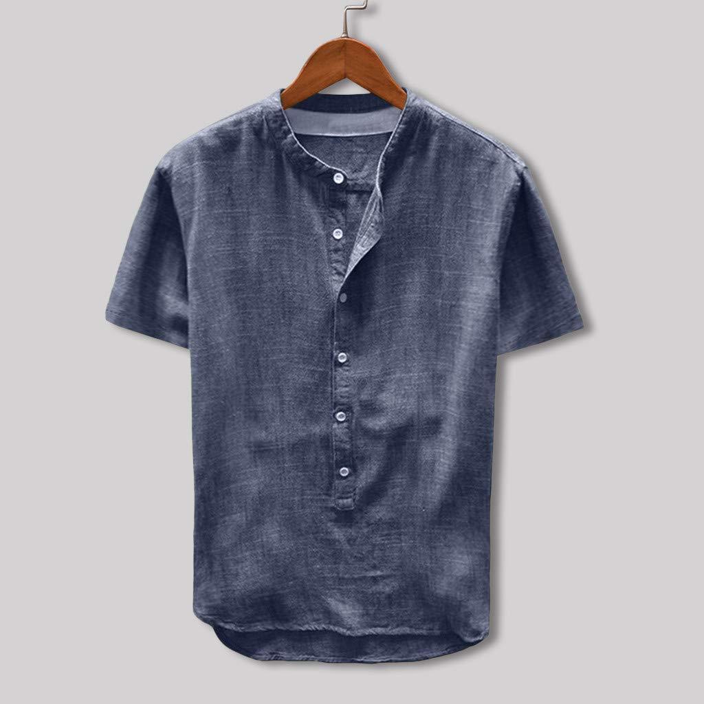 9ba4af27a686f Fangxiang Mode Hommes T-Shirt Haut Blouse À Manches Longues Couleur Pure  Col Rond Bouton Lâche ...