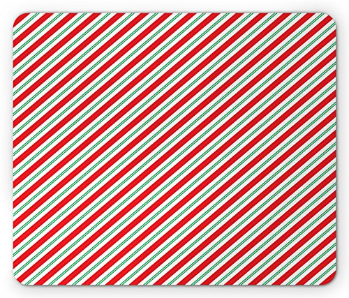 Candy Cane Stripe Mouse - Candy Cane Mouse Pad by Ambesonne, Bicolor Stripes and Lines Festive Traditional Design Seasonal Pattern, Standard Size Rectangle Non-Slip Rubber Mousepad, Red Fern Green White