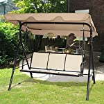 COSTWAY-Garden-Swing-Chair-Patio-Outdoor-Metal-Hammock-Swinging-Bench-Lounger-3-seater-Brown