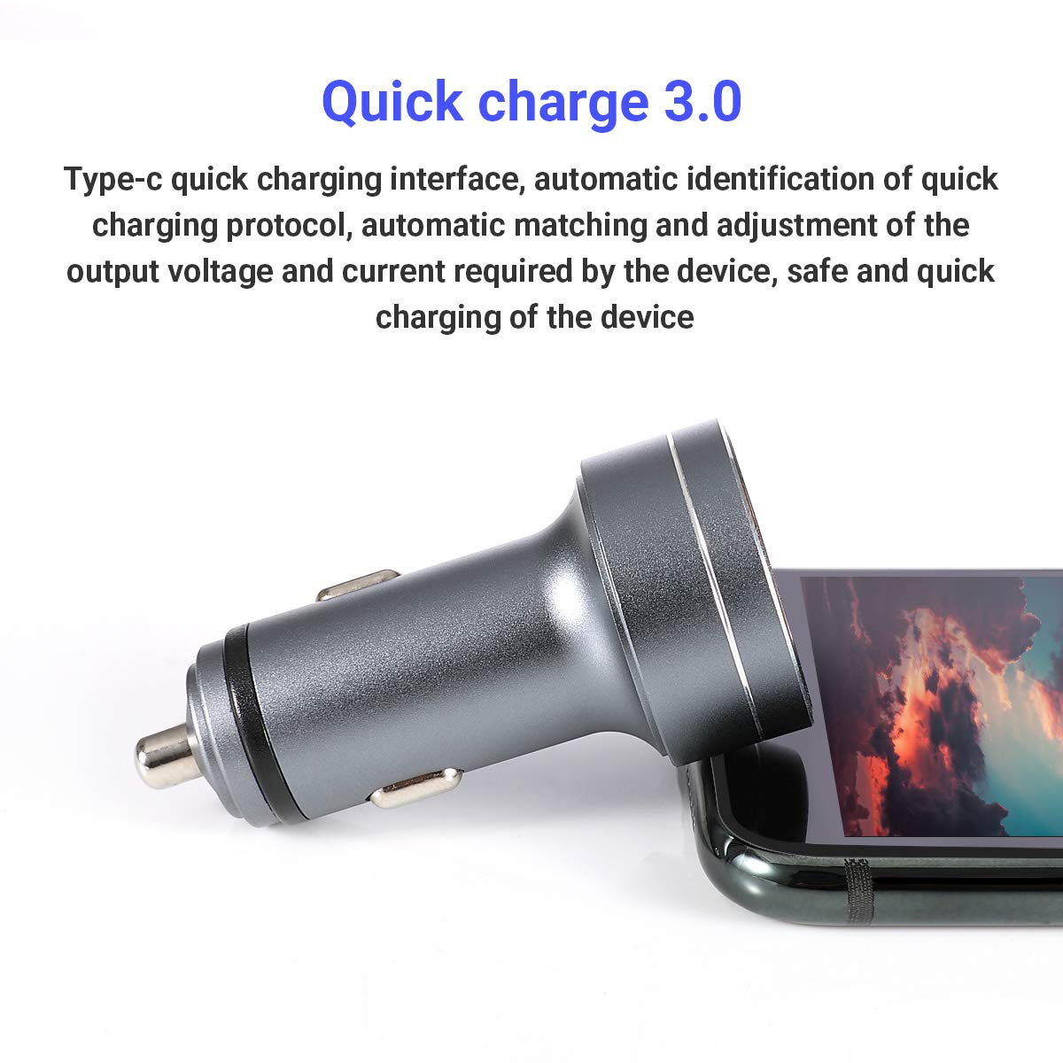 Ipad Pro\Mini,Samsuny Galsxy Note9 and More. USB Type C Car Charger,Quick Charge 3.0 Adapter,45w 3.4A 2-Port with LED Compact Car Charger,Compatible with iPhone Xs\Max\XR