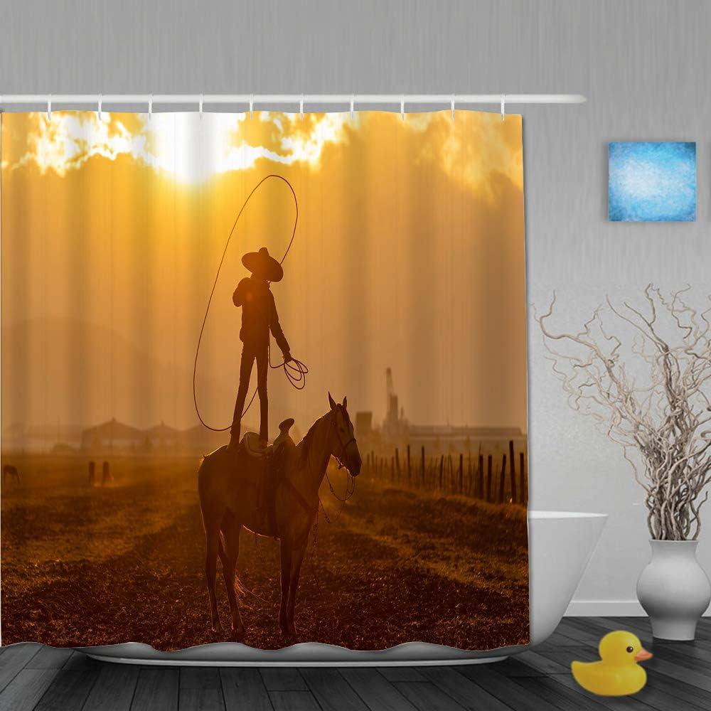 YOLIKA Cortina de Ducha,Un Joven Charro Mexicano reúne una Manada de Caballos Corriendo por un Campo en un Rancho Mexicano al Amanecer,Tejido de poliéster - con Gancho,180x180