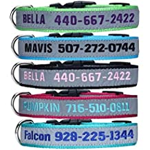 Personalized Dog ID Collar,Custom Embroidered with Pet Name & Phone Number Reflective Safety Dog Leash Collar for Small, Medium and Large Dog