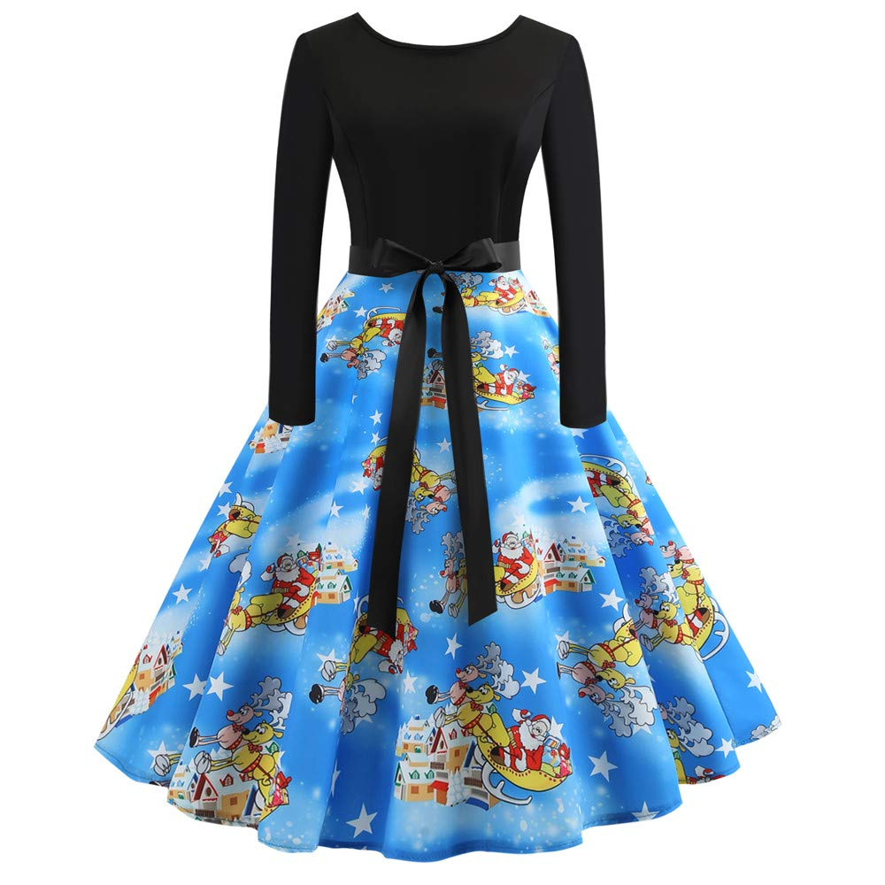 Clearance Sale! Wobuoke Christmas Women's Long Sleeve Round Neck Printing Vintage Gown Evening Party Swing Dress