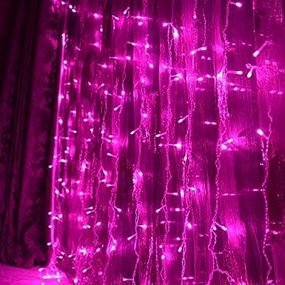 FefeLightupTM PINK Led String Lights 9.8ft*9.8ft 304 LEDs Lights Decorating Holiday Wedding Curtain Lights