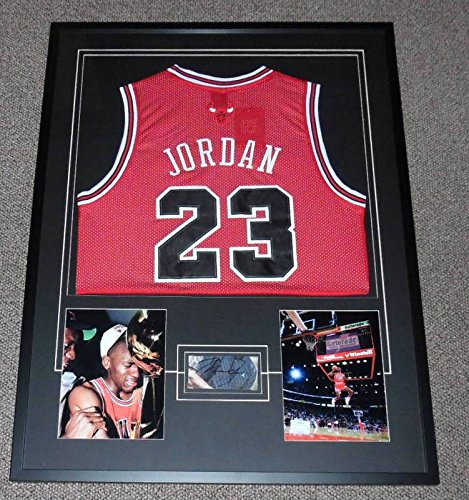 Michael Jordan Signed Display - Michael Jordan Signed Framed 29x38 Jersey & Photo Display JSA Bulls