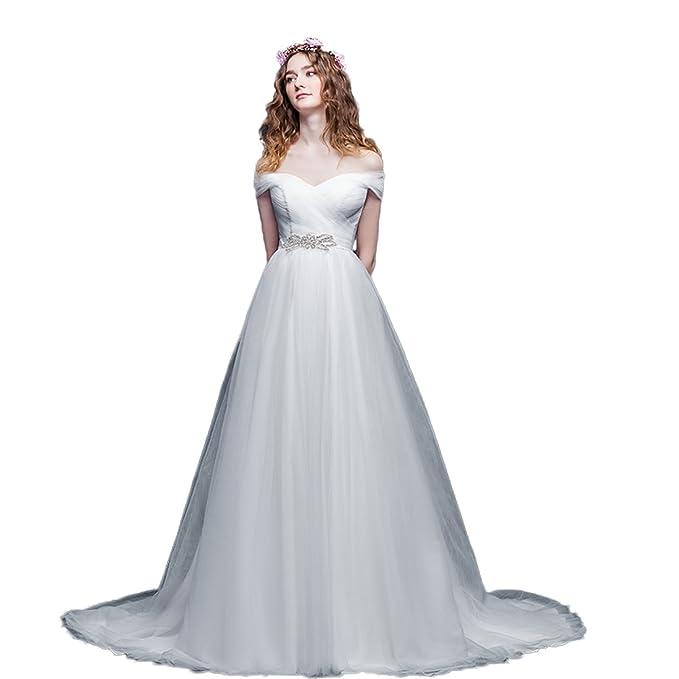 Xnaihuafei blanco brillante Trailing novia vestidos de novia vestido de novia Blanco blanco 48