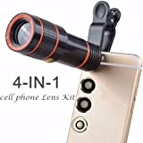 Phone Camera Lens Kit,Loietnt Universal 4 in 1 12X HD Zoom Cell Phone Telephoto Lens Telescope Camera + Fish Eye + Wide Angle + Micro Clip Lens with Universal Clip for Iphone 6s/6/6 Plus/6s Plus / 5s , Samsung Galaxy S6 / S6 edge/S5, Note 5 /4 ,and More (4 in 1)