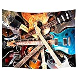 Music Decor Tapestry By JAWO Variety Of Guitar Instrument Artsy Print Wall Art Hanging for Bedroom Living Room Dorm 71X60Inches Wall Blankets