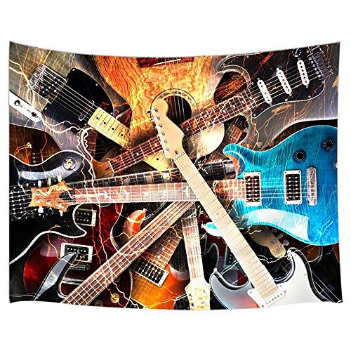(JAWO Music Decor Tapestry Variety of Guitar Instrument Artsy Print Wall Art Hanging for Bedroom Living Room Dorm 71X60Inches Wall Blankets)