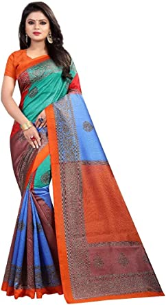 Indian Blue Silk Blend Saree Women Floral Printed Blouse Fabric Dress Sari Wrap