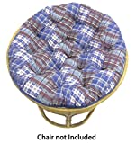 Cotton Craft Papasan Chair Cushion (unfilled shell only) - Madras Plaid Blue Multi, 100% Cotton duck fabric, Fits Standard 45 IN round Chair - Do it yourselfers - Fill at home and save