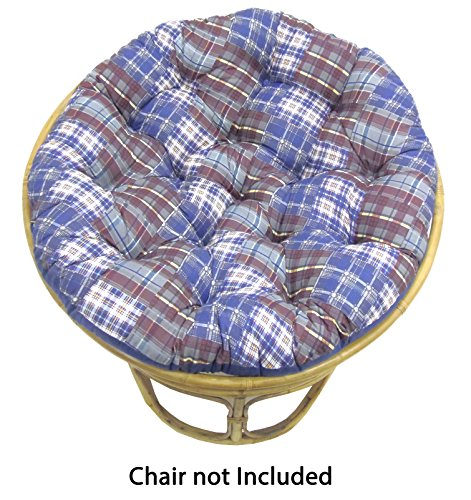 Cotton Craft Papasan Chair Cushion  - Madras Plaid Blue Mult
