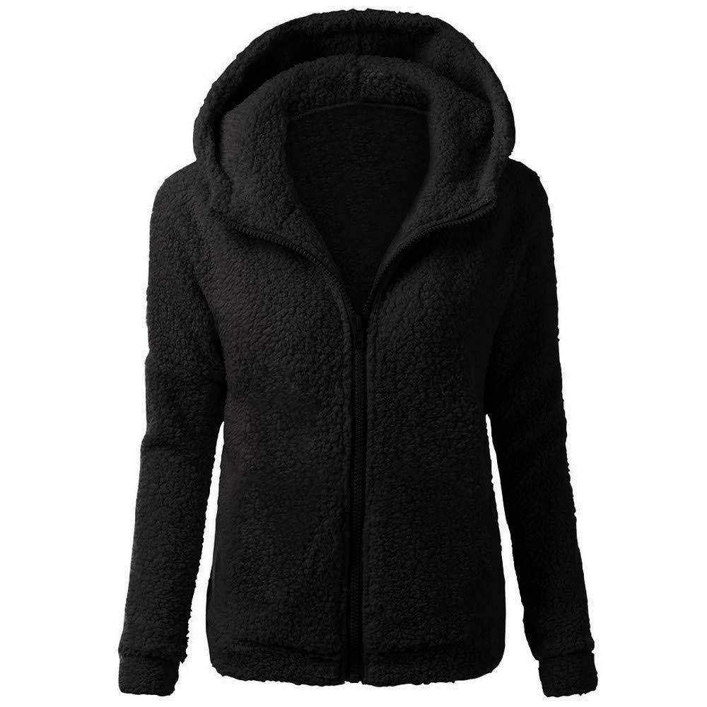 Lazzboy Womens Coat Jacket Sweatershirt Hoodie Lambs Wool Solid Pocket Velvet Fleece Long Sleeve Hooded Overcoat Outerwear Oversized Plus Size, S-5XL