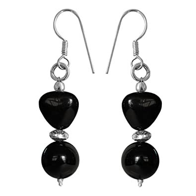 Pearlz Ocean Sterling-Silver Dangle & Drop Earring For Women (Black) Earrings at amazon