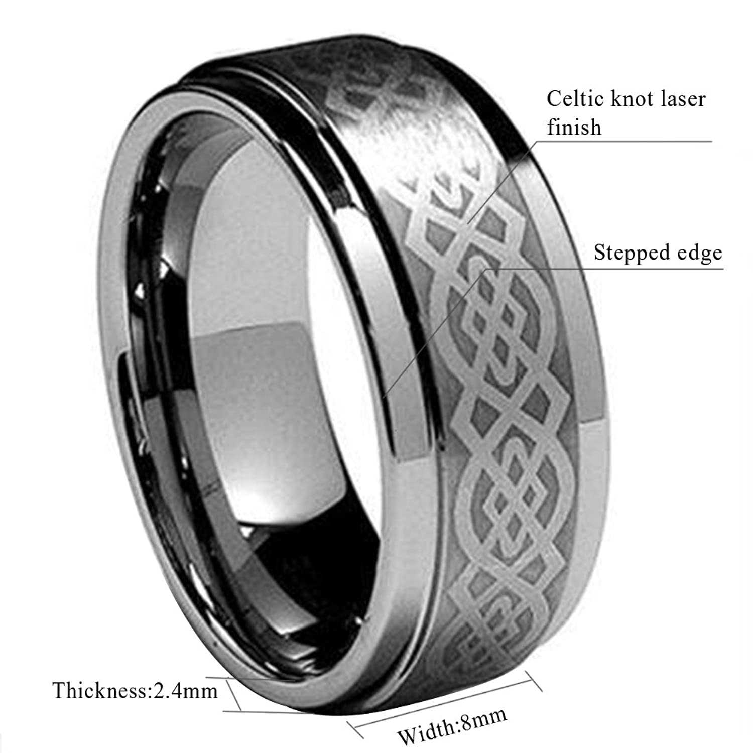 King Will 8mm Mens Tungsten Carbide Ring Laser Celtic Knot Polish