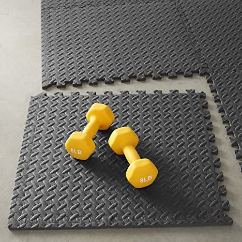 Amazon Basics Foam Interlocking Exercise Gym Floor Mat Tiles - Pack of 6, 24 x 24 x .5 Inches