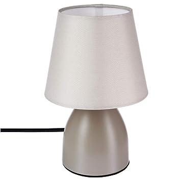 Lampe de chevet déco 19cm - Couleur taupe: Amazon.fr: Cuisine & Maison