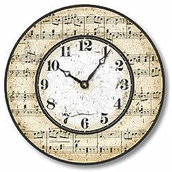 Item C2005 Vintage Style Music Notes Clock (10.5 Inch Diameter)