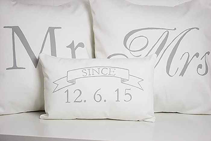 Amazon Com Mr Mrs Pillow Covers With Mini Wedding Date Pillow Handmade