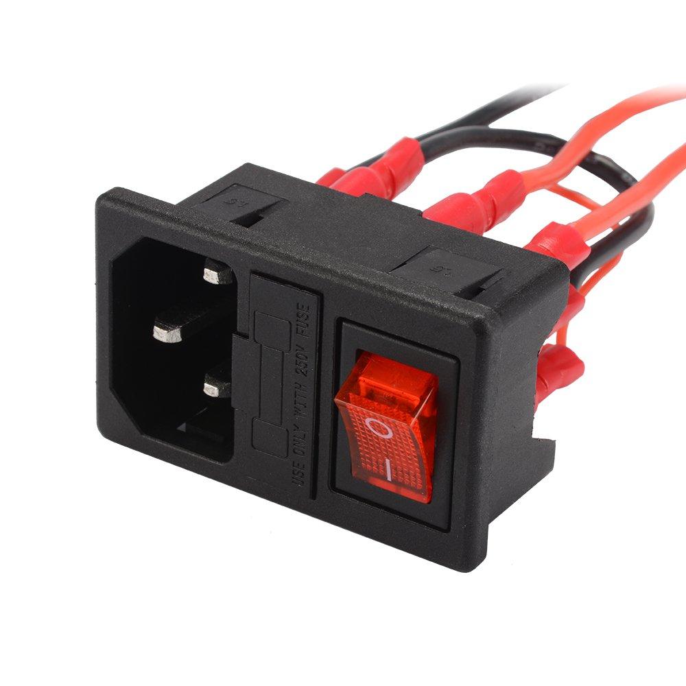 Kreema 220v 110v Power Supply Switch Male Socket With Amazoncom Inlet Module Plug Fuse 10a 250v 3 For 3d Printer Diy Industrial Scientific