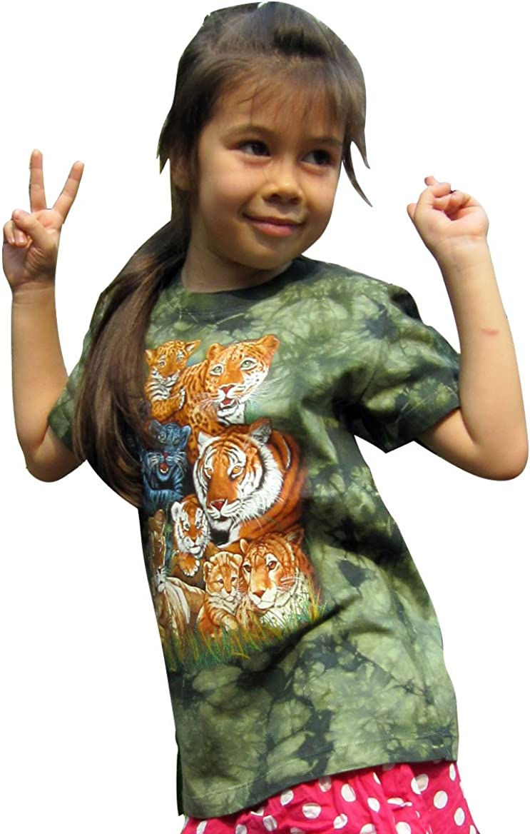 Raan Pah Muang Childs Unisex Bright Tie Dye T-Shirt Tiger Family Tie Dyed Shirt