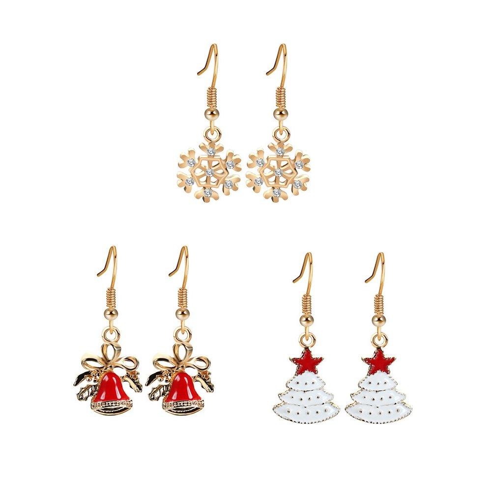 3 Paar Damen Weihnachts Ohrringe set Ohrhänger Weihnachtsschmuck Geschenk Glocken Schneeflocke Weiß Weihnachtsbaum MAKFORT