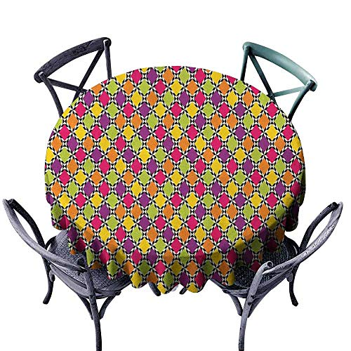 duommhome Abstract Dustproof Tablecloth Funky Modern Colorful Diamond Shapes with Bicolor Stripes Retro Style Pattern Easy Care D71 Multicolor