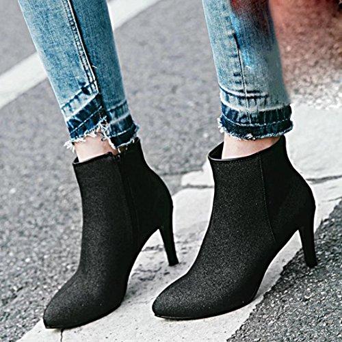 AIYOUMEI Damen Glitzer Stiefeletten mit 8cm Absatz Stiletto High Heels Herbst Winter Stiefel Ankle Boots Schwarz