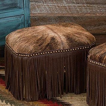 Black Forest Decor Brindle Cowhide Footstool – Large