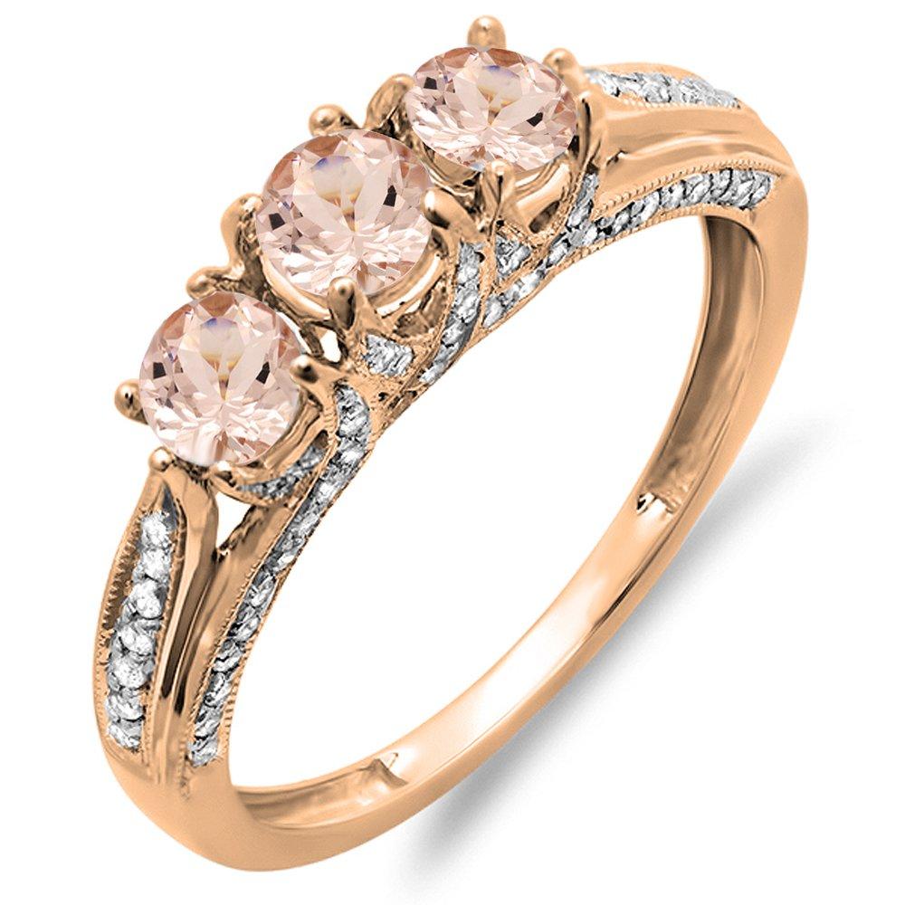 14K Rose Gold Round Morganite & White Diamond Ladies Vintage Bridal 3 Stone Engagement Ring (12)