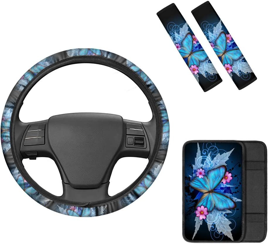 INSTANTARTS Women Car Interior Decor,Butterfly 4 Piece Comfort Universal Auto Accessories (1 Steering Wheel Cover + 1 Armrest Cover + 2 Seat Belt Pads)