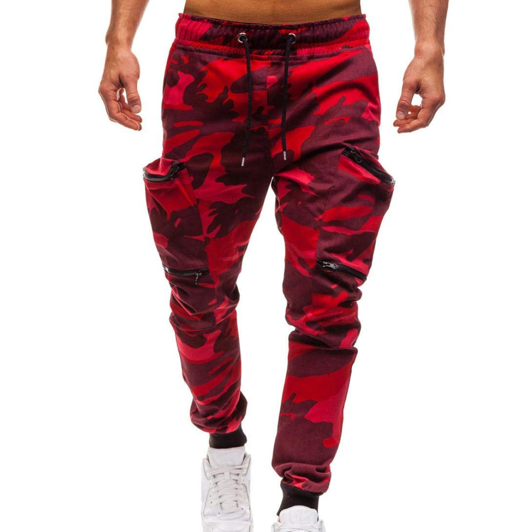 kingfansion Men's Trousers Casual Tooling Camouflage Drawstring Classic Jogging Pants Zipper Pocket Outdoor Sweatpants