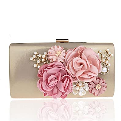 50a53e7da273c EPLAZA Women Large Capacity Flora Evening Party Bags Clutch Purse Vintage Wedding  Handbags Wallet (Gold