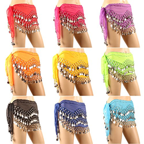 Hip Scarfs for Belly Dancing, 10PCS/LOT Hip Scarves with 128-Silver Coins Belly Dance Waist Costume Belt, Chiffon Dangling Belly Dance Sequins Hip Scarf -