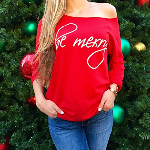 6f34ac0982d free shipping GOODBEE Women's Christmas Be Merry Printed Long loose Sleeve  Off Shoulder Sweatshirt Tops T