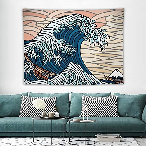 HASKAS Tapestry Wall Hanging, Wave Nature Landscape Wall Tapestry for Living Room Bedroom Home Decorations in 59×79 Inches