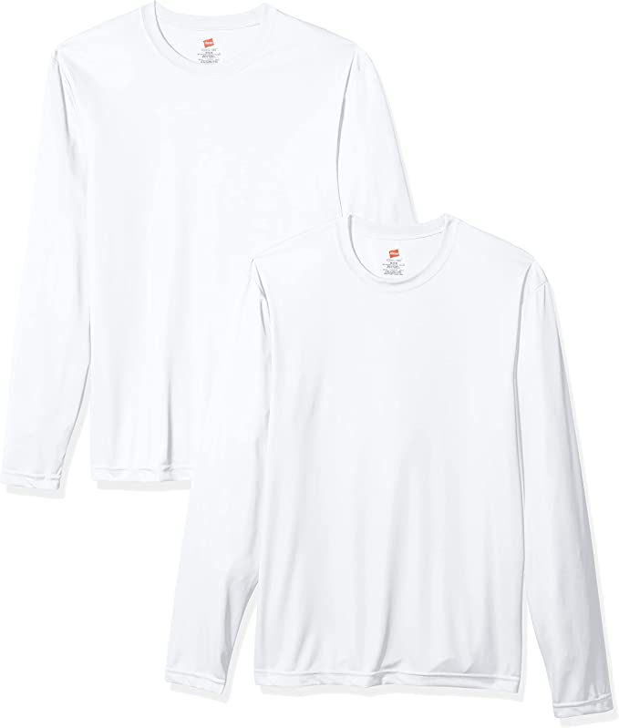 Hanes Men's Long Sleeve Cool Dri T-Shirt UPF 50+ (Pack of 2)   Amazon