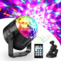 Luces Discoteca, Haofy Bola Discoteca con Cable USB, Control Remoto y 15 Colores RGB, Luce de Escenario LED Giratoria…