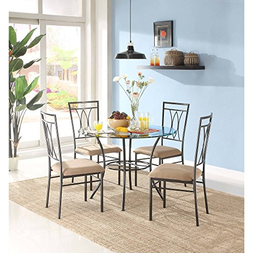 MSS 5-Piece Glass and Metal Dining Set, Includes table and 4 chairs, Solid metal tubing, Easy assembly, Upholstered seat cushions, Comfortably seats four people with 42 inch round table (Glass Upholstered Dining Table Set)