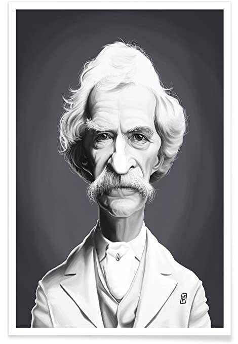 Juniqe posters 140x210cm black white celebrities design mark twain format portrait