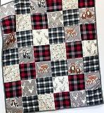 Baby Boy Quilt Patchwork Buffalo Plaid Woodland Animals Handmade Nursery Crib Bedding