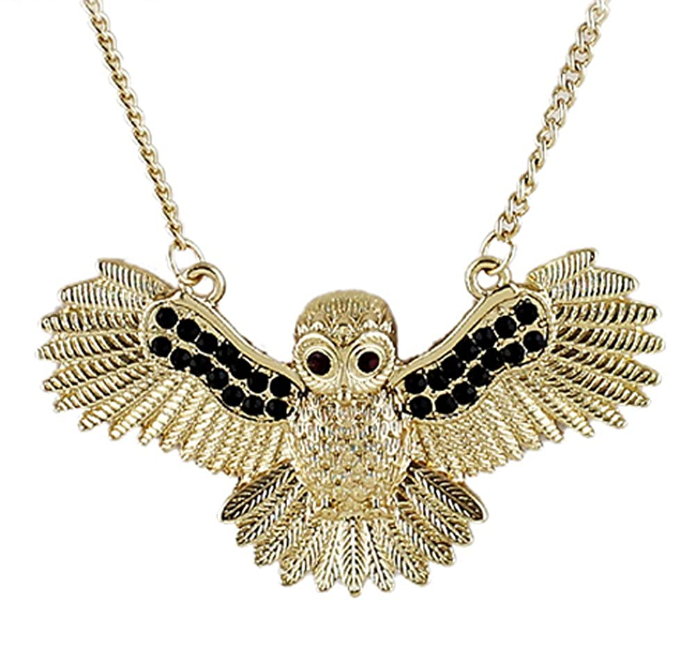 AmaranTeen Hip Hop Jewelry Gold Color Chain Black Bead Vivid Flying Bird Owl