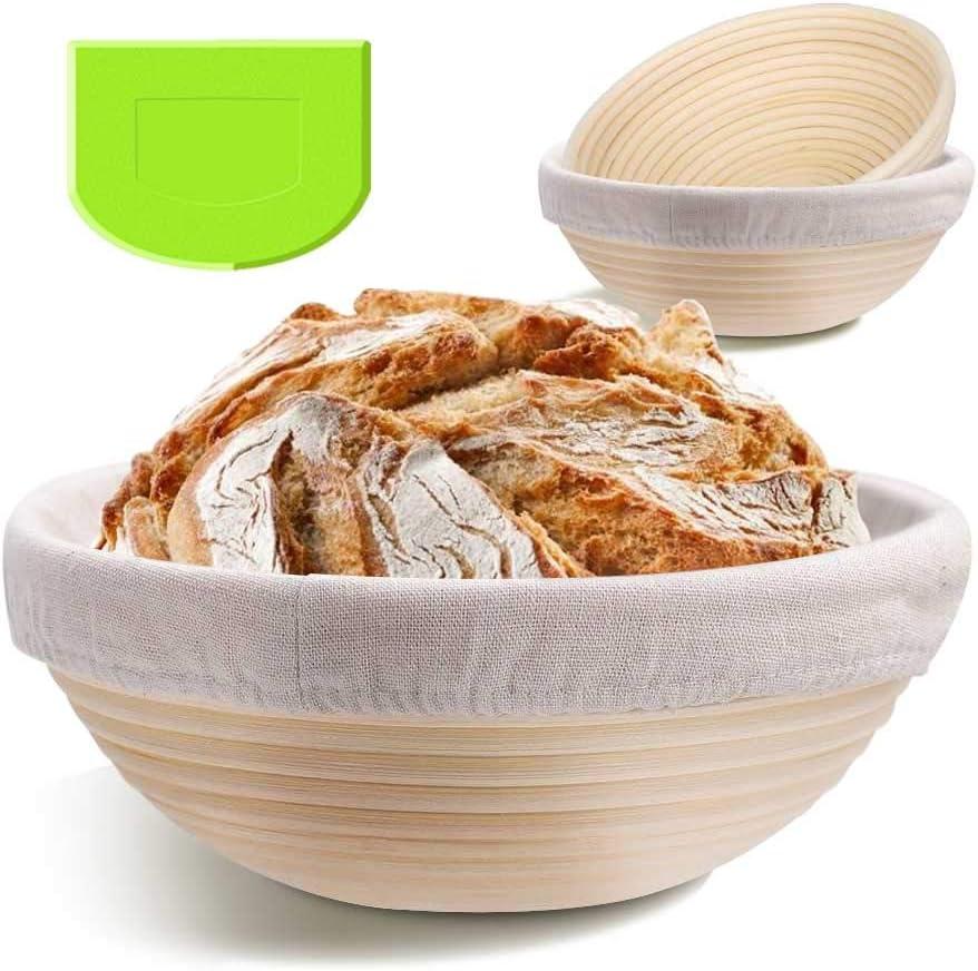2 Pack 9 Inch Bread Banneton Proofing Basket - Baking Dough Bowl Gifts for Bakers Proving Baskets for Sourdough Lame Bread Slashing Scraper Tool Starter Jar Proofing Box