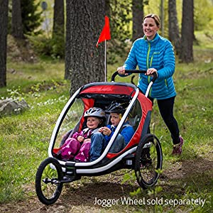Best Baby Bike Trailer: Hamax Outback Multi-Sport Child Bike Trailer + Stroller +Jogger (Two Seats, Charcoal/Red)