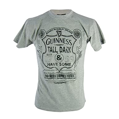 Guinness T-Shirt with Tall, Dark & Have Some Shield Print,Grey,